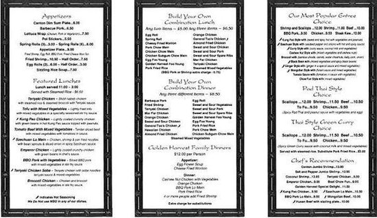 Golden Harvest Restaurant: Our Menu