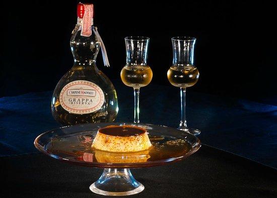 DaVinci Restaurant Nai Harn: creme caramel and grappa riserva