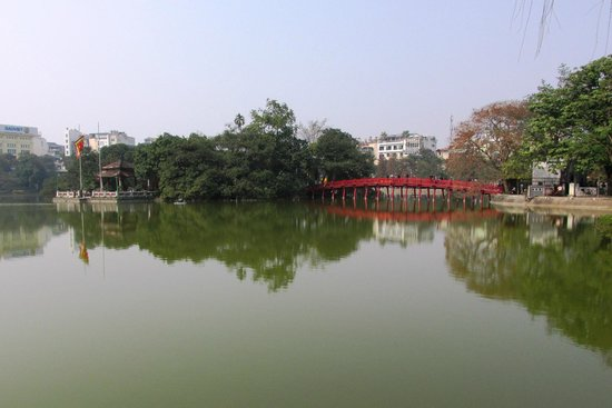 Lake of the Restored Sword (Hoan Kiem Lake): View of Jade Mountain Temple and Hoan Kiem Lake