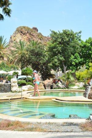Oasi della Salute Volcanic Mineral Pools : la piscina e il monte dietro