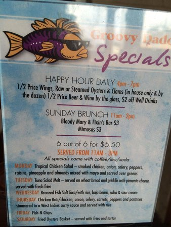 Capt. Groovy's Grill and Raw Bar: Daily specials