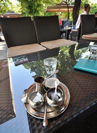 Novotel Sarajevo Bristol: Local coffee with lokum served in hotels garden