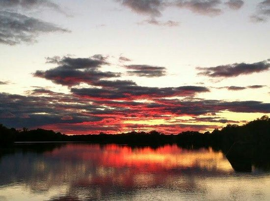 MDs Flambeau Resort & Campground : A beautiful sunset in front of our resort.