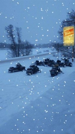 Holcombe, WI: Snowmobilers warming up at MD's