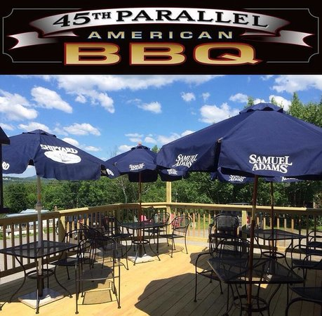 Outdoor seating at the 45th Parallel American BBQ in Rangeley, Maine!