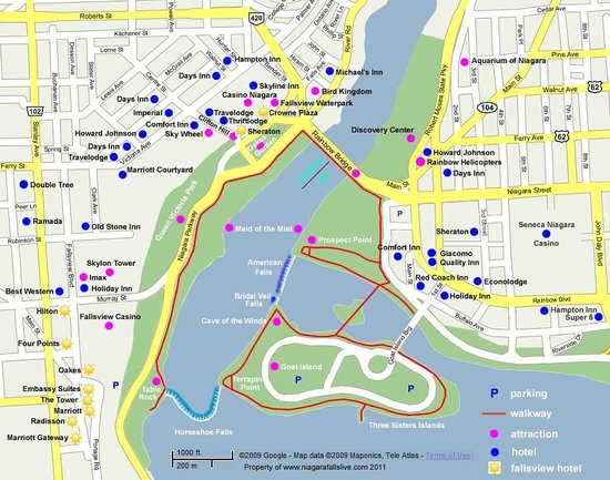 Niagara Falls Marriott Fallsview Hotel & Spa : Used this map to decide on a hotel