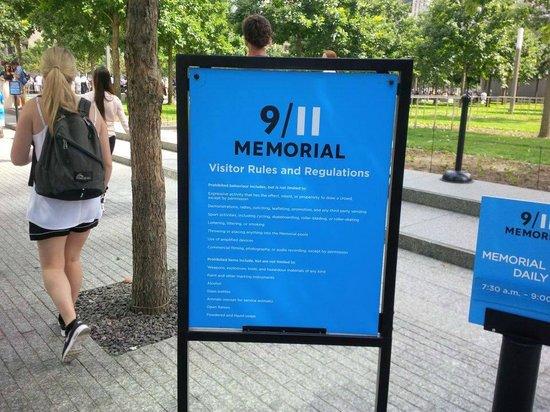 The National 9/11 Memorial & Museum: Memorial Sign
