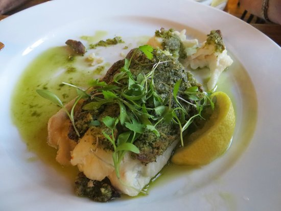 Upstairs at The Folly Wine Bar and Restaurant: Cod fillet with a herb crust
