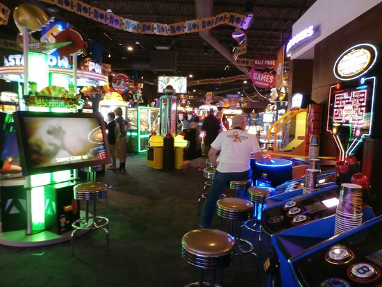 The Wayne Dave and Buster's location has more than arcade games, ranging from classic games like motorcycle racing to licenced properties like Monopoly and Tomb Raider.