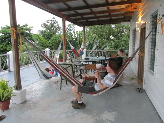 BlueBelize: 2nd floor veranda, plenty hammocks and great views
