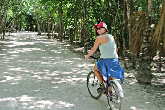 Coba Mayan Traditions: Biking through the jungle. You will be hard pressed to find a bike for taller people.