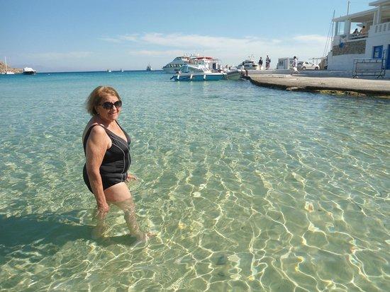Avli Tou Thodori: playa Platys Gialos en el restaurante