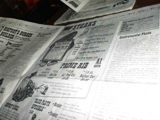 Bigfoot's Steakhouse: Really quirky menu
