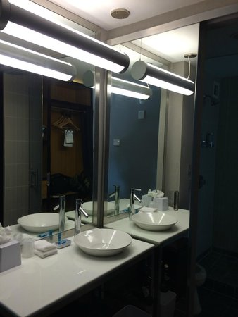 Aloft Houston by the Galleria: Bathroom area. Note the sliding mirror door.