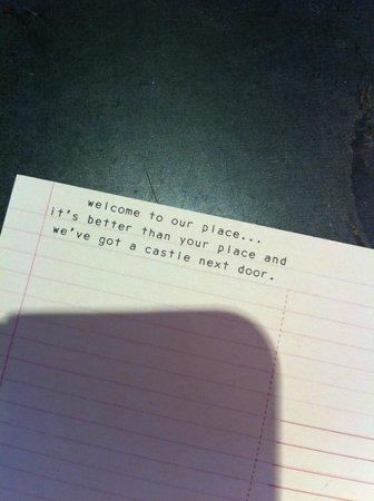 Grassmarket Hotel: Postcard! Love the sense of humor!
