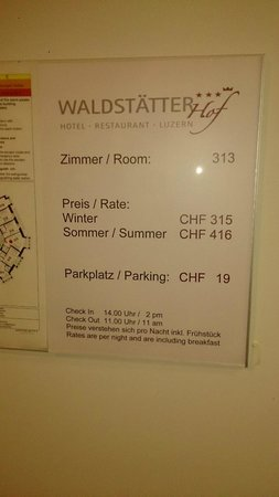 Waldstätterhof Swiss Quality Luzern Hotel: 416 Francs a night, but no luggage assistance or service of any kind