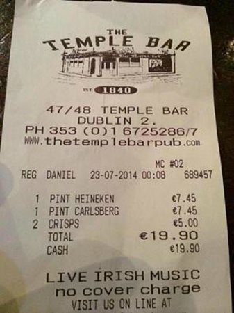 The Temple Bar Pub: receipt to show the cost!