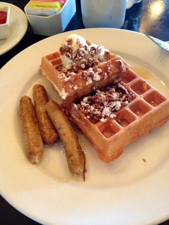 Kouzzina by Cat Cora: waffles and chicken sausage