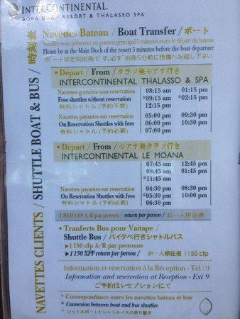 InterContinental Bora Bora Resort & Thalasso Spa : Shuttle schedule to Le Moana