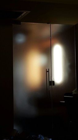 W New Orleans - French Quarter: View of the translucent bathroom door and wall in our room at the W.