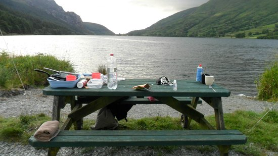 Cwellyn Arms: picnic table and view