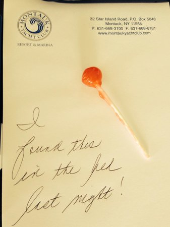 Montauk Yacht Club Resort & Marina: Lollipop discovered in my bed......