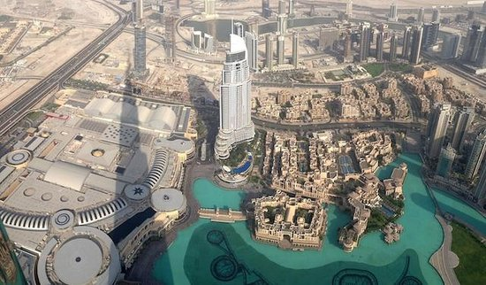 Burj Khalifa: looking down from the viewing platform; note the shadow!