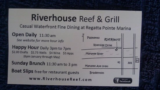 Riverhouse Reef & Grill: backside of Managers business card