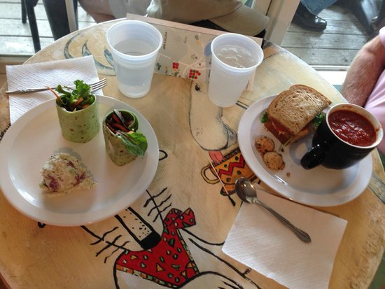 Kojay's Eatery & Coffeehouse: Chicken wraps and soup and sandwich