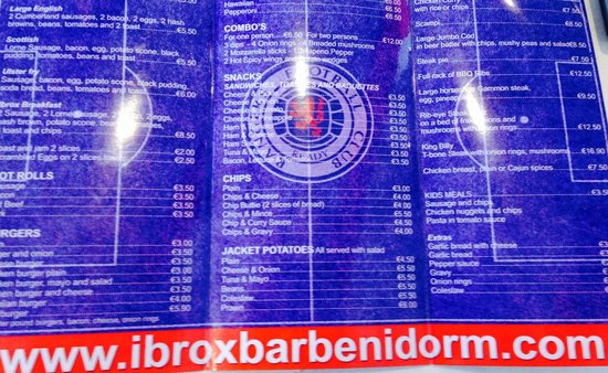 Ibrox Bar: Menu