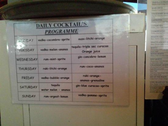 Stella Palace Resort & Spa: menu des cocktails gratuit de la semaine