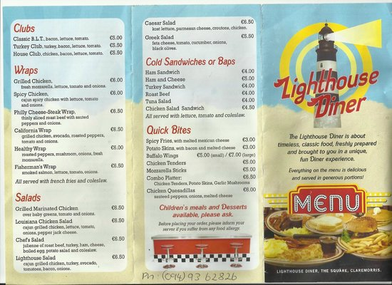 Lighthouse Diner: Part of our menu