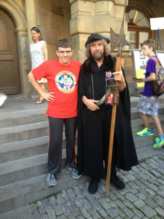 The  Night Watchman Tour: My youngest son with the Night Watchman.