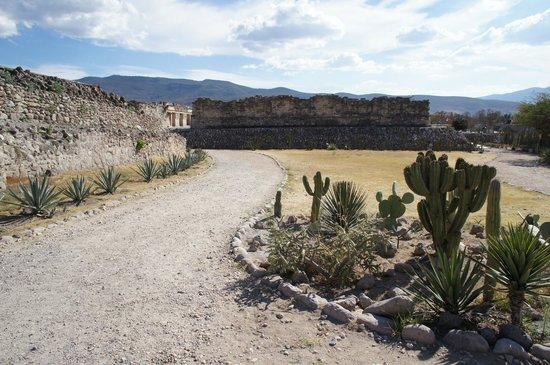 Mitla: Em direção ao pátio norte do Conjunto de las Columnas