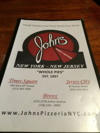 John's of Times Square : Menu