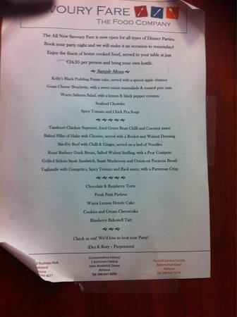Savoury Fare: Their group menu