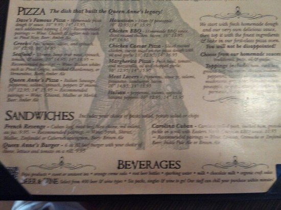 Queen Anne's Revenge: Lower menu