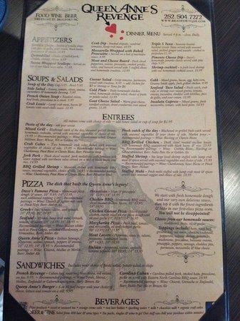 Queen Anne's Revenge: Dinner menu