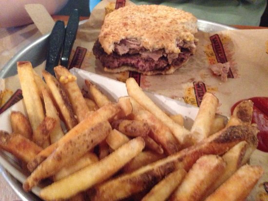 Willie Jewell's: Awesome burger!!! Absolutely huge for the money. Comes with cheese and piled up pork. Get one or