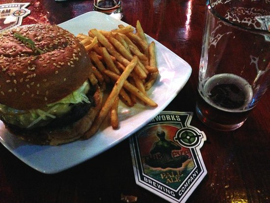 Steamworks Brewing Co : Gouda Cheese, Granny Smith Apple, Ale Braised Onion Burger!