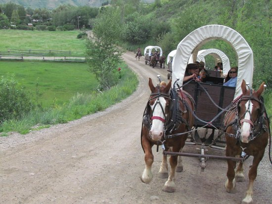 Bar-T-5 Covered Wagon Cookout : Wagons Ho for dinner and the wild west.