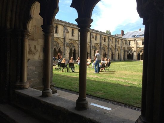 Norwich Cathedral: Drama rehearsal within Cloisters