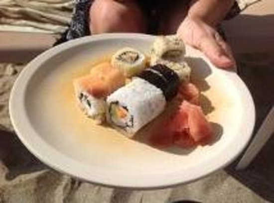 Crown Paradise Golden Resort Puerto Vallarta: sushi in beach bar every night, it was very good with ginger