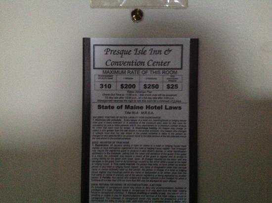 Presque Isle Inn & Convention Center: They can't be this serious about outrageous room rates, can they?
