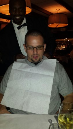 Mr. B's Bistro: They put a bib on you before you eat the barbeque shrimp.