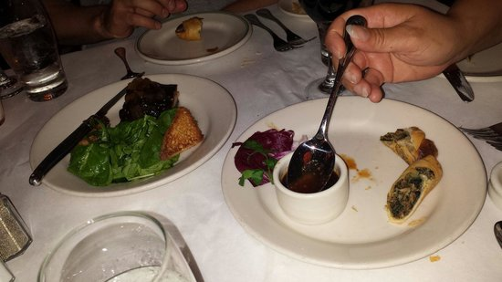 Mr. B's Bistro: Pork belly and duck spring roll appetizers