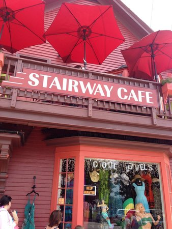 The Stairway Cafe: Look for this on the corner