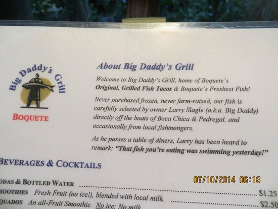 Big Daddy's Grill: Menu