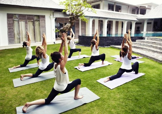 Escape Haven Bali: An afternoon yoga session in our wide open garden space