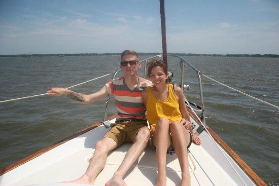 Charleston Sail - Harbor Yacht Tours: Charleston Sail. Enjoying the bow!